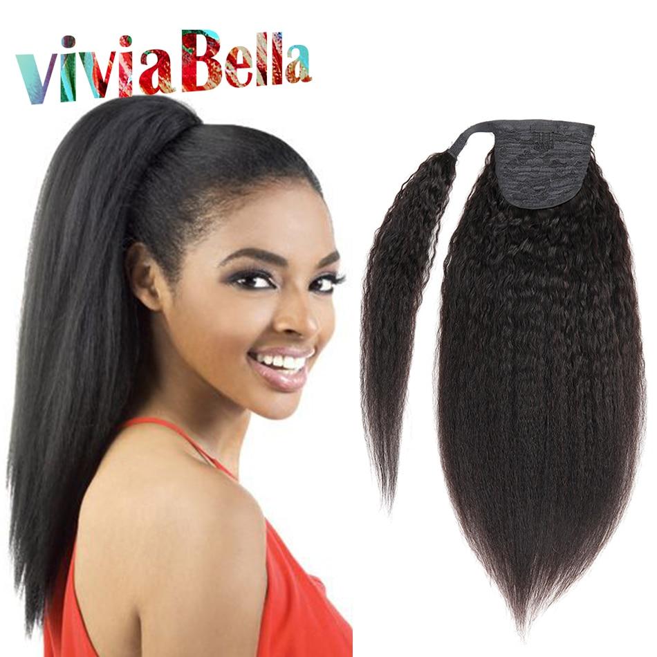 Ponytail Human Hair Kinky Straight 12 26 Brazilian