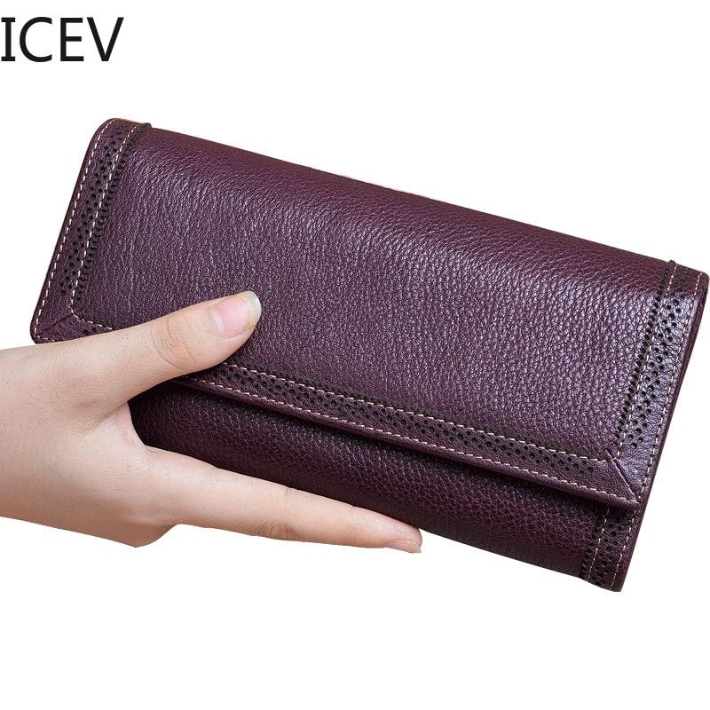 ICEV Cartera de cuero genuino bolso de mujer con ahuecado de alta calidad de cuero de vaca titular de la tarjeta de teléfono celular de bolsillo mujer día bolso de embrague