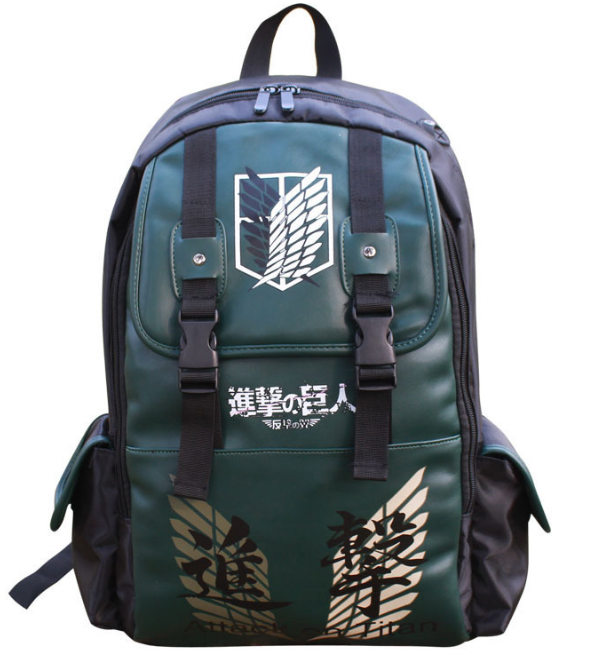 New Double-Breasted Attack on Titan PU Bag Shoulder Bag Backpack School Bags Travel Durable Teenager Computer Backpack anime attack on titan mini messenger bag boys ataque on titan school bags mikasa ackerman eren shoulder bags kids crossbody bag