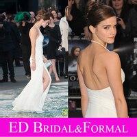 Emma Watson Dress At Noah UK High Slit Backless Long Fitted White Prom Dress Chiffon