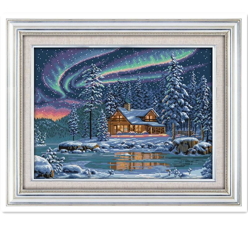The Aurora Borealis Chinese Cross Stitch Patterns Kits Counted Printed Canvas DMC Embroidery Set DIY Kit Dimensions Cross-stitch