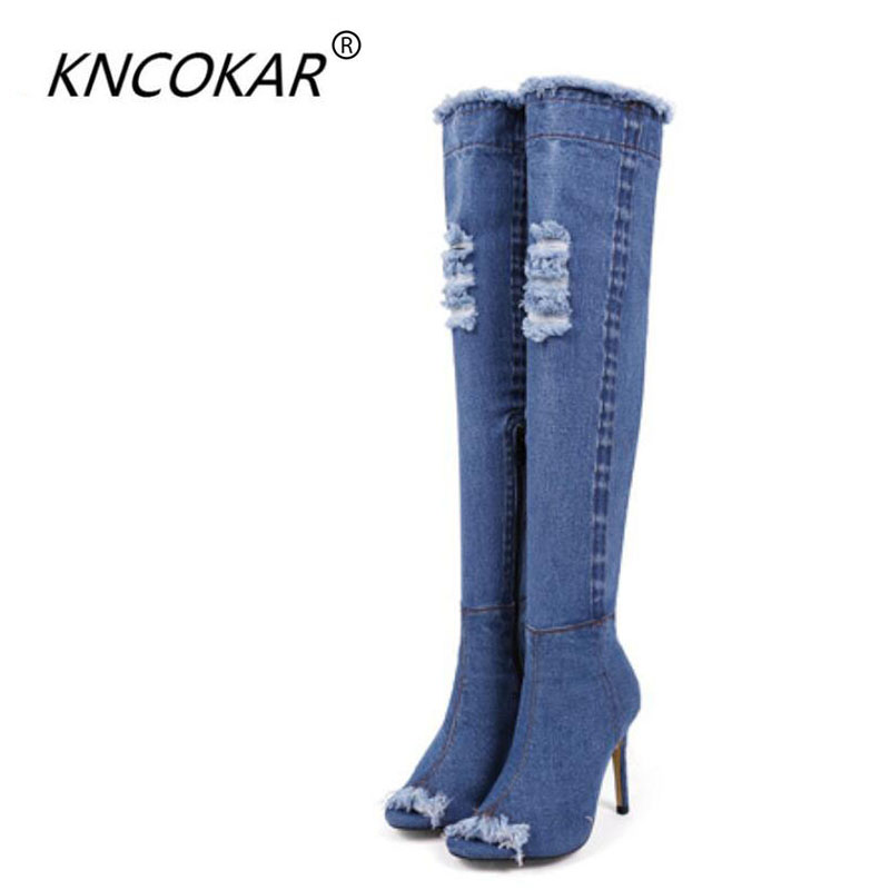2017 new fashionable denim boots qiu dong high-heeled shoes to wear bead high boots over-the-knee knight with female boots boots qiu dong korean fashion personality joker empty hat knitting wool hair hoop headband