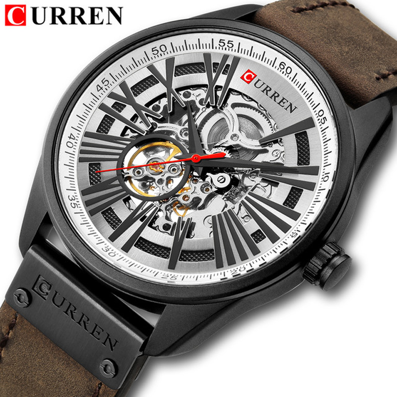 CURREN New Men s Fashion Mechanical Watch Men Waterproof Leather Band Wristwatches Male Automatic Self Wind