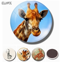 Giraffe 30 MM Fridge Magnet Nature Lover Gift Glass Cabochon Magnetic Refrigerator Stickers Note Holder Home Decoration