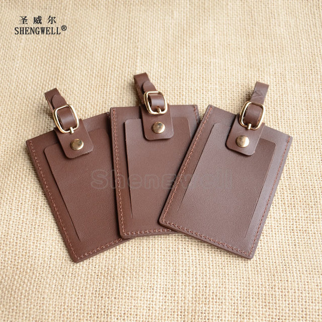 100% Cow Leather luggage Tag Hotel Card Key Tags Vertical Style With Drawstring
