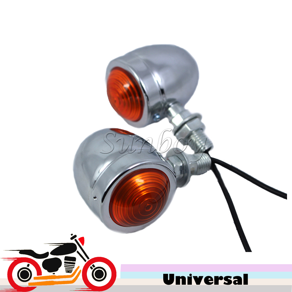 Chrome 2pcs Motorcycle Bullet Turn Signal Light Amber Lens For Honda Shadow Sabre VF700 VT750 1100 Yamaha Suzuki Kawasaki Harley ...