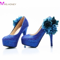 Wedding Dress Shoes Royal Blue Color Rhinestone Party Prom High Heel Shoes Handmade Lady Anniversary Party