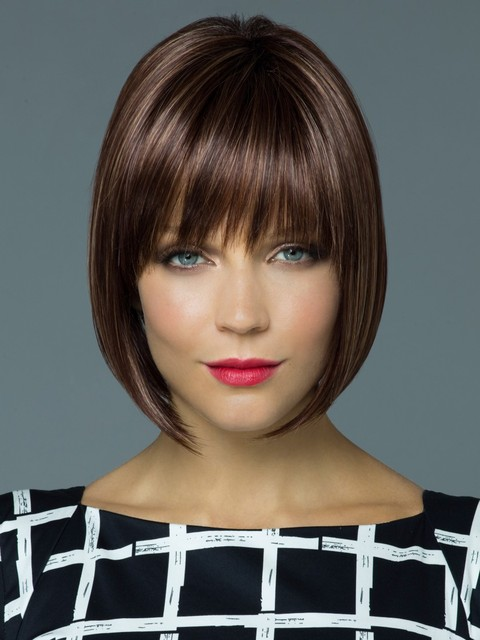 Straight Bob Wig With Bang Heat Resistant Synthetic Hair For Female