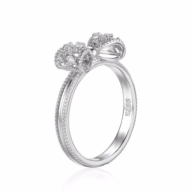 JewelryPalace Bow Cubic Zirconia Anniversary Wedding Ring For Women Soild 925 Sterling Silver Jewelry For Girl Party Friend Gift 3