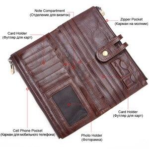 Image 4 - MISFITS 2019 yeni uzun cüzdan erkek hakiki deri debriyaj çanta kart tutucu para çantası kadın portemonnee fermuar çile telefon çantası