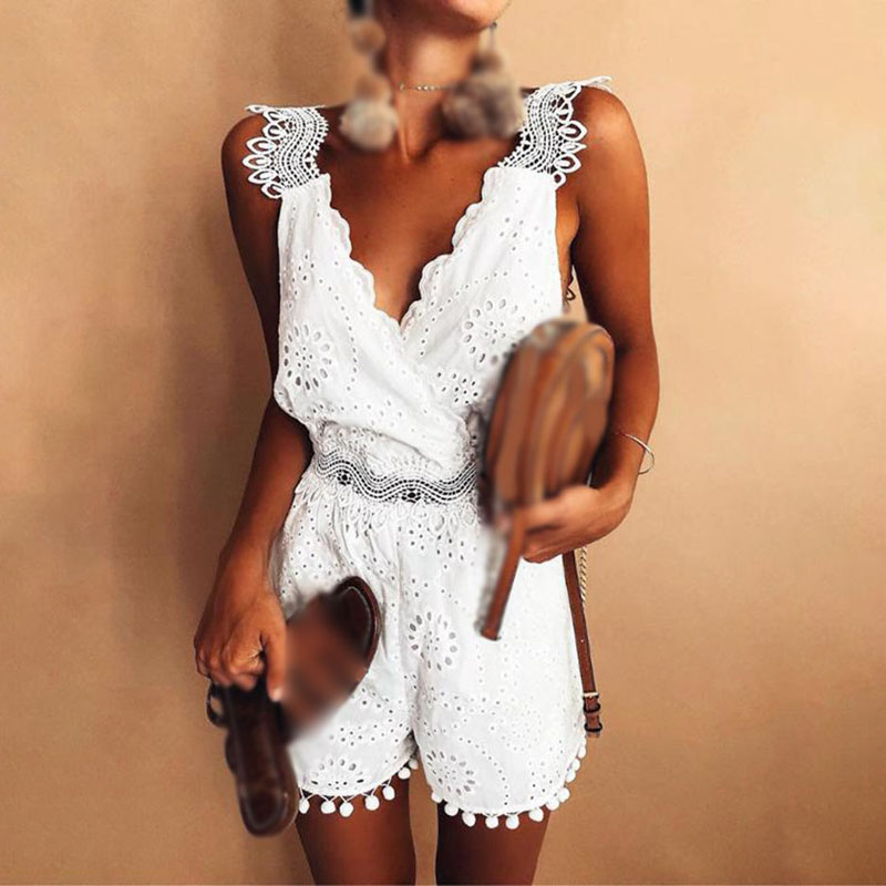 Jumpsuit White Tassel Lace-Sling V-Neck Hollow Solid-Color Summer Women Ladies Sleeveless