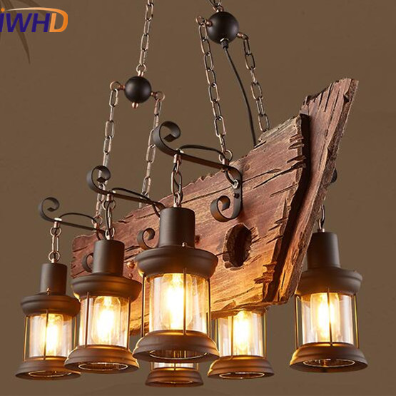 IWHD American Loft Vintage Industrial LED Pendant Lights Retro Droplight RH Wooden Ship Pendant Lamp Fixtures Home Lighting iwhd vintage industrial loft led pendant lights nordic retro pendant lamp rh wooden e27 3 droplight fixtures for home lighting