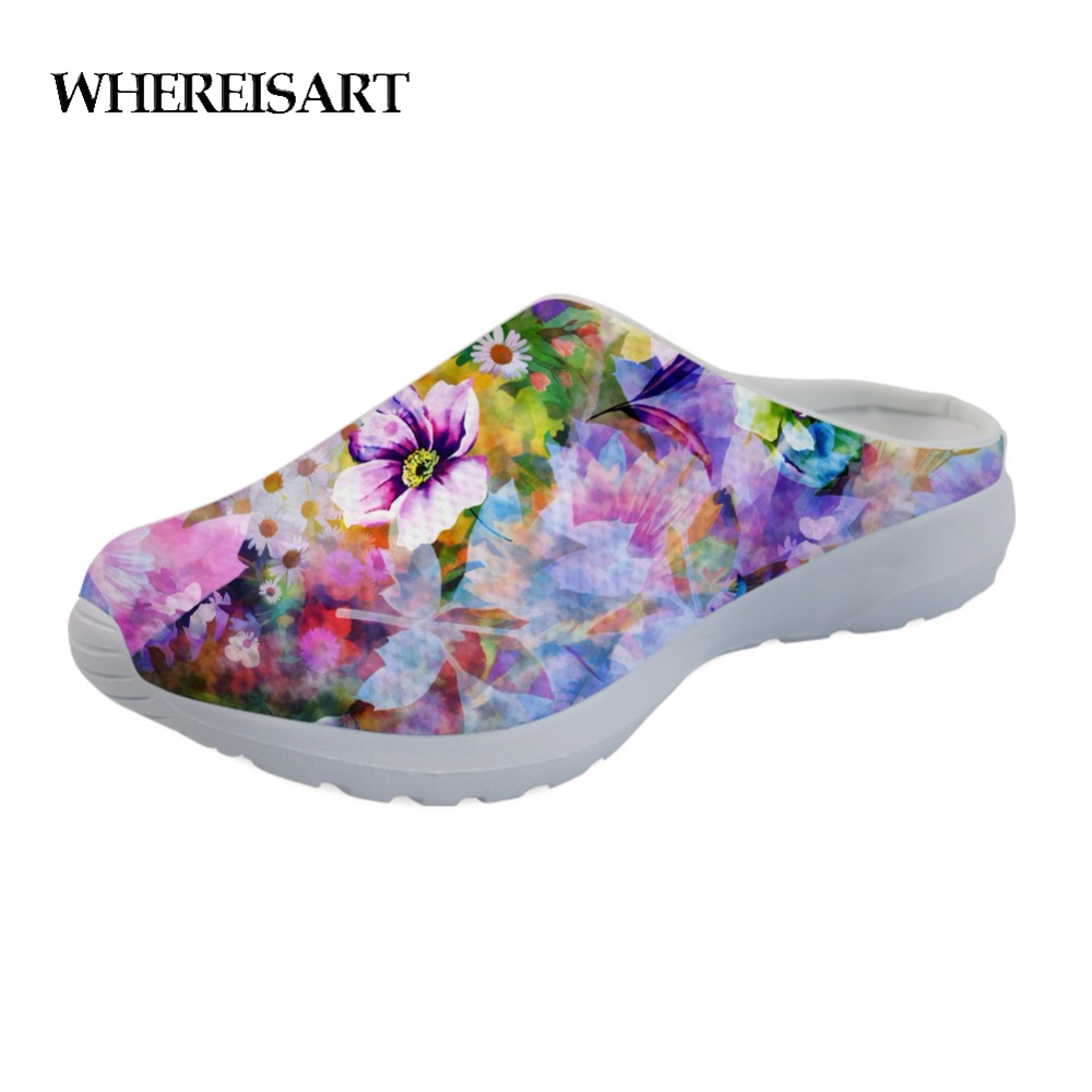 WHEREISART Female Shoes Slippers Beach-Sandals Mesh Teen Floral-Style Girls Summer Woman