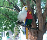 Series Of Feather Parrot 45cm Handmade Feather Artificial Bird Rustic Home