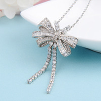 925 sterling silver bow tassel necklace female elegant temperament long necklace jewelry