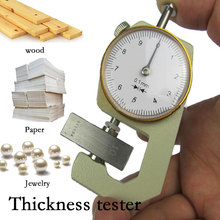 цены Thickness Gauge Tester Leather Dial Micrometer Metal Silver Yellow Durable Sturdy Analysis Tool Width Measurement Leathercraft