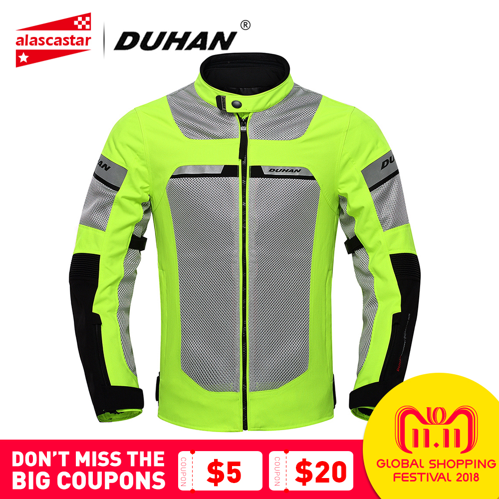 DUHAN Motorcycle Jacket Men Motorbike Racing Jackets Protective Gear Summer Mesh Breathable Moto Jacket Black Fluorescent Green