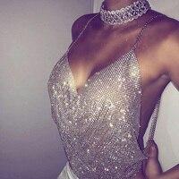 7776702ca04a94 Crystal Mesh Tank Top Womens Diamond Metal Crop Top 2019 Summer Beach Sexy  Gold Sparkly Sequin