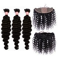 13x4 Silk Base Frontal With Bundles 3 Pcs Deep Wav Bundles With Closure Brazilian Hair Weave Bundles With Frontal Closure Remy