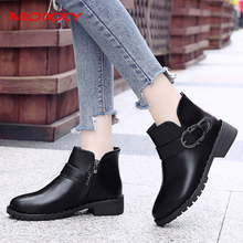 2019 New Ankle Boots For Women Boots Platform Black Boots Trendy Zip Buckle Leather Chunky Heel Casual Shoes Woman  Botas Mujer