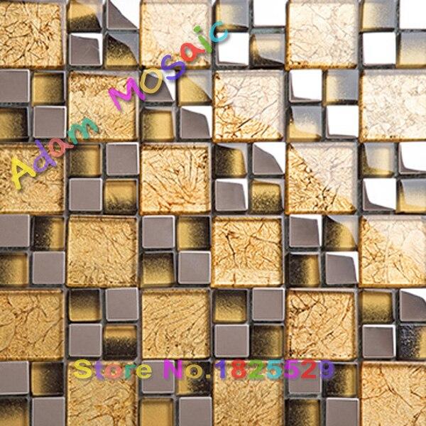golden mosaic mirror kitchen gold tiles backsplash glossy fireplace ...