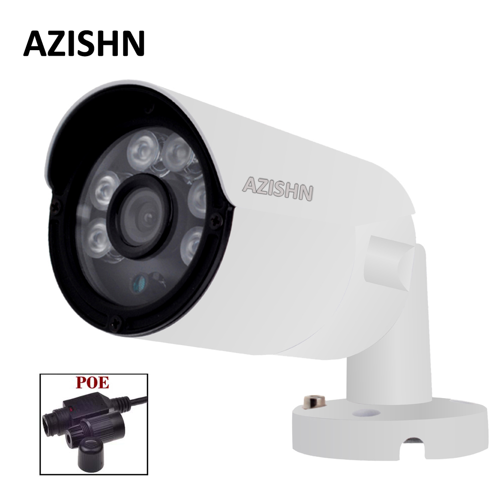 AZISHN 48V PoE IP Camera 720P/960P/1080P Waterproof outdoor 6pcs Array LEDS Bullet ONVIF Metal IP66 48V PoE cable cctv camera wistino 1080p 960p wifi bullet ip camera yoosee outdoor street waterproof cctv wireless network surverillance support onvif