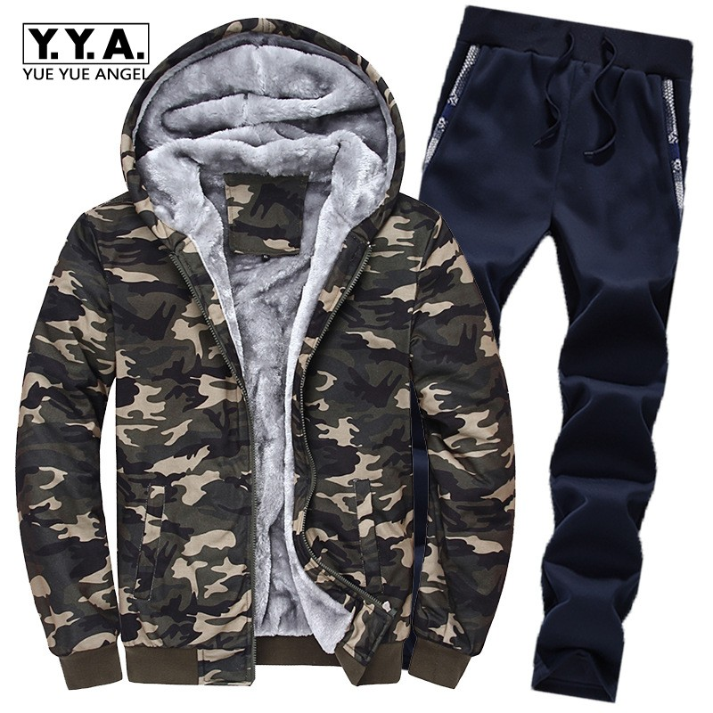 New Mens Winter Warm Fur Lining Tracksuit Casual Camouflage Printed Hooded Coat Full Length Sweatpants Sets Large Size Male Suit
