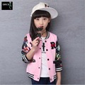 2016 New Girls Children's Wear Spring Autumn New Flower Princess Korean Baseball Uniform Jacket White Pink Print R Letter 3-15Y