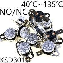 1 шт. KSD301 10A 250V 40~ 135 градусов Керамика нормально открытый/нормально закрытый Температура переключатель Термостат 45 55 60 65 70 75 80 85