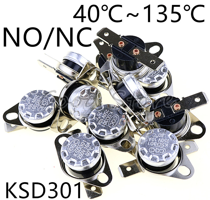 1pcs KSD301 10A 250V 40~135 Degree Ceramic Normally Open/Normally Closed Temperature Switch Thermostat 45 55 60 65 70 75 80 85