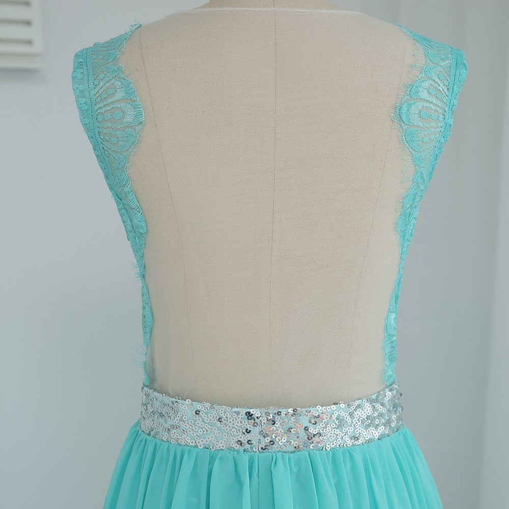 Nouveau 2019 robes de demoiselle d'honneur pas cher moins de 50 a-ligne voir à travers menthe vert mousseline de soie dentelle paillettes robes de mariée - 5