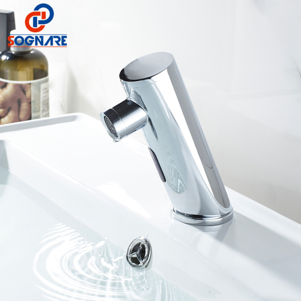 SOGNARE Water Saving Bathroom Basin Faucet Automatic Hand Touch Tap Hot Cold Mixer Battery Power Free Sensor Faucet,Chrome D204 free shipping new discount countertop bathroom automatic sensor faucet for hotel home water saving tap zr6130