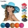 A047 Linen Summer Womens Kentucky Derby Wide Brim Sun Hat Wedding Church Sea Beach