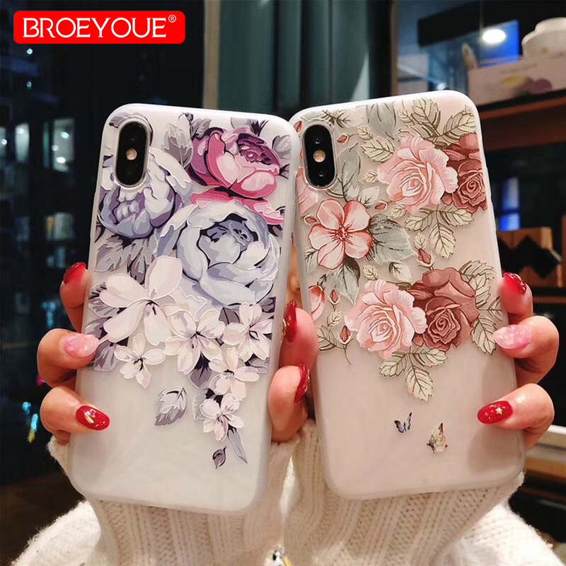 BROEYOUE Case For iPhone 7 6 6S 8 Plus X 5 5S SE 3D Relief Flower Soft TPU Silicone Case For iPhone 5 5S SE Mobile Phone Cases