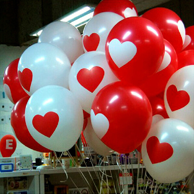 BTRUDI 50piece/lot 12inch Heart-shaped printed white and red balloon Birthday party decorations kids helium balloon wedding