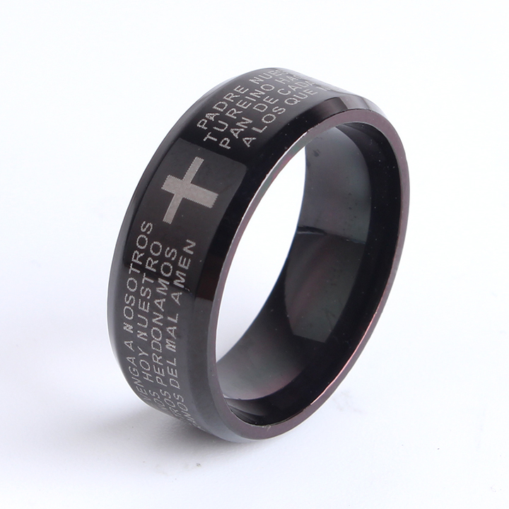 free shipping 8mm black bible cross 316l Stainless Steel finger rings for men wholesale