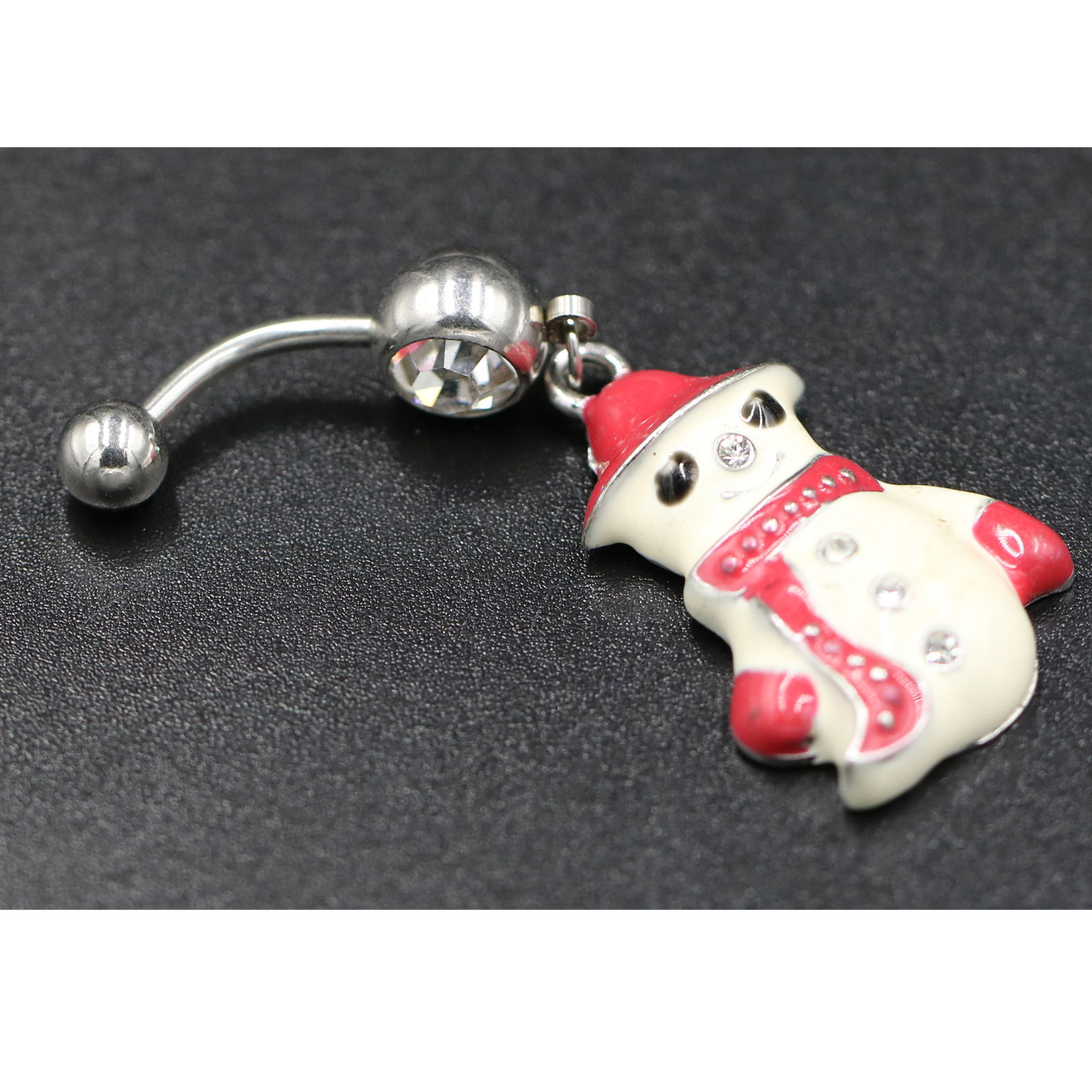 Ring-Bar Piercing Navel Dance-Ring Belly-Button Dangle-Body Crystal-Snowman Women Multicolor