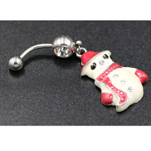 1pcs Wholesale Lots Multicolor Crystal Snowman Dangle Body Piercing Navel Belly Button Ring Bar Women Dance Ring(China)