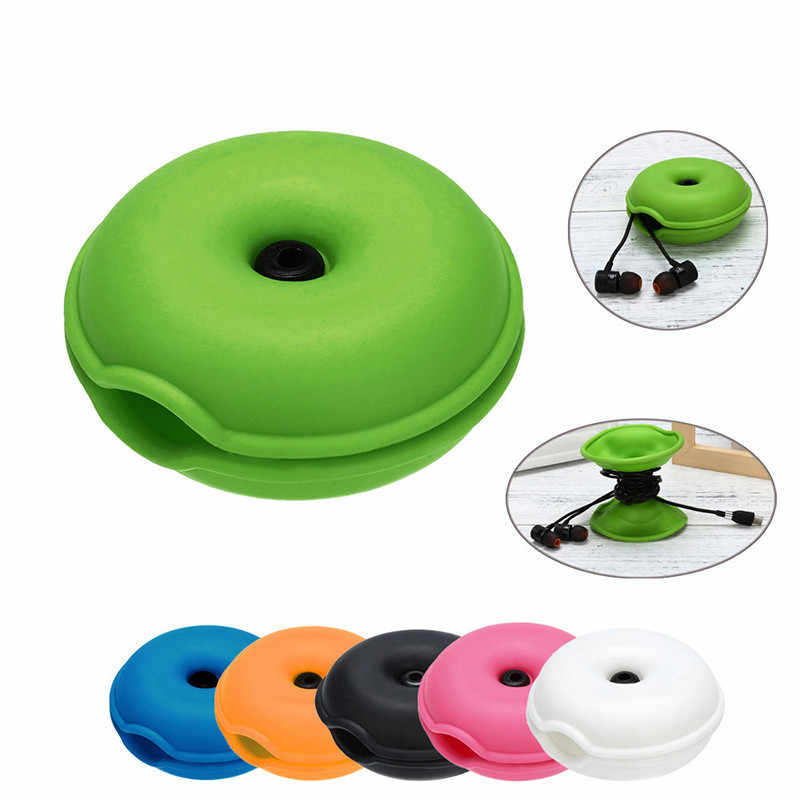 Magnet Silica Gel Headphones Earphone Holder Cable Winder Cord Organizer Box Wire Storage Desktop Clips Management For iPhone
