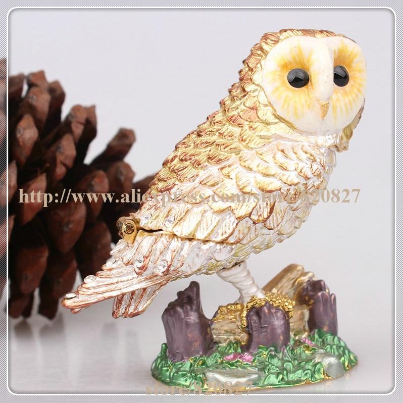 Owl Handcrafted Jeweled Trinket Box Fine Pewter Owl Jewelry Trinket Small Box Owl Treasure Holding Box