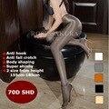 Óleo Brilhante T das Mulheres sexy-virilha aberta meia-calça 70D, fios Meias sexy mangueira, Dança de Fitness Leggings sexy lingerie