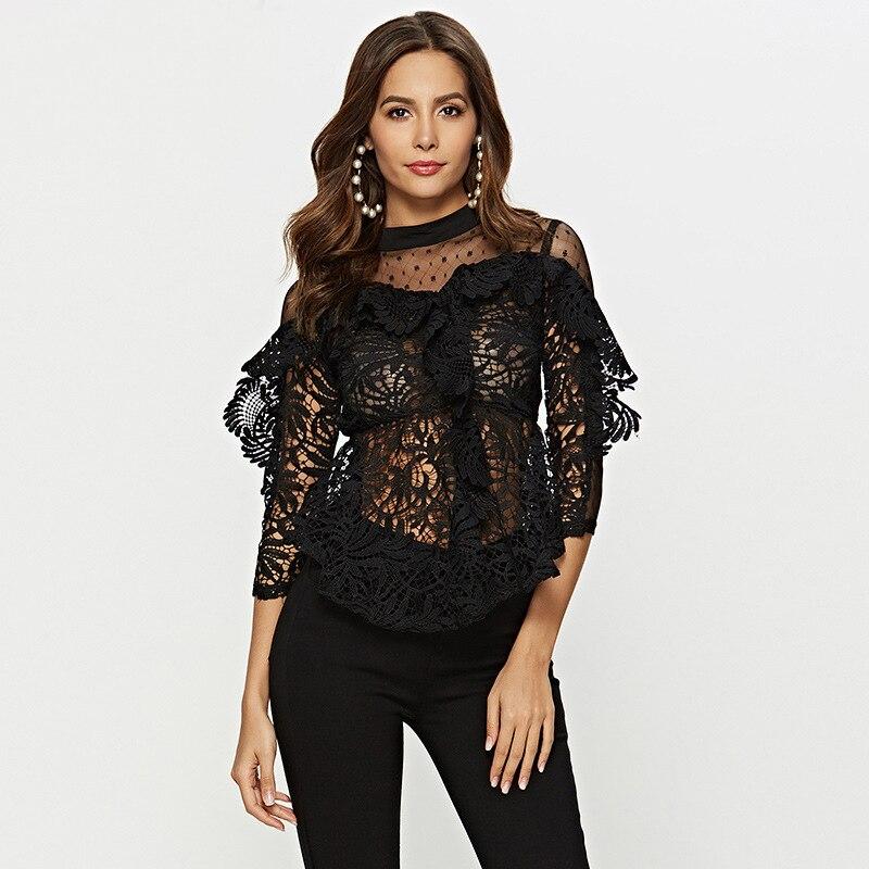JLI MAY transparent dentelle Blouse femmes blanc noir trois quarts manches broderie solide Sexy chemises col montant hauts