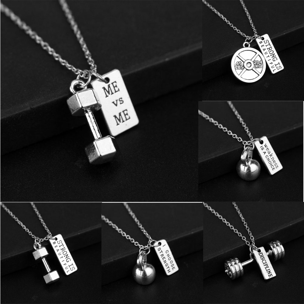 Fitness Gym dumbbell necklace and Pendant Jewellery Bodybuilding strength