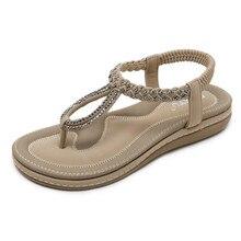 купить Women Summer Sandals Fashion Comfortable Bohemia Rhinestone Beach 2019 Female Shoes Plus Size Flat Women Slippers Oxford Sole по цене 1515.27 рублей