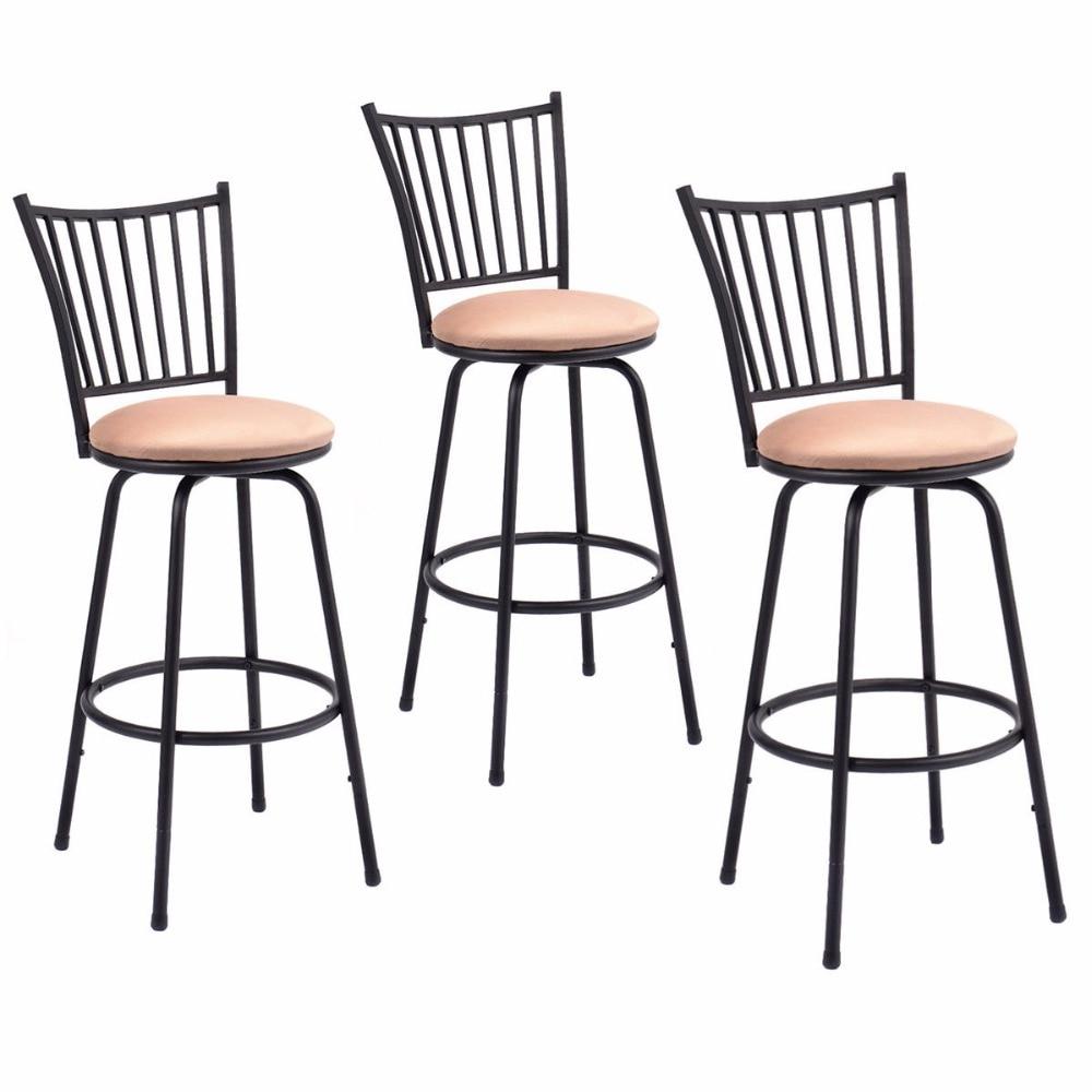 Giantex Set Of 3 Swivel Counter Height Bar Stools Modern Barstool Bistro Pub Chair New Bar Furniture HW52698