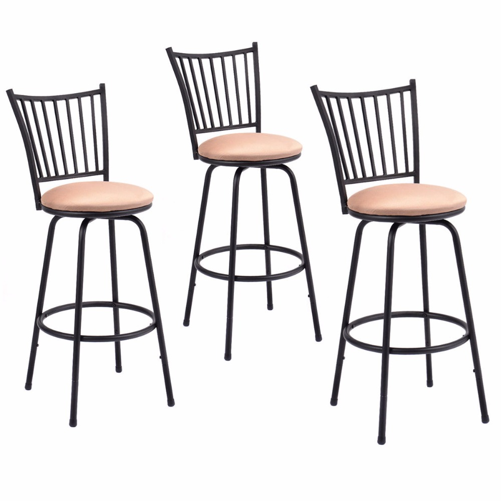 Giantex Set of 3 Swivel Counter Height Bar Stools Modern Barstool Bistro Pub Chair New Bar Furniture HW52698