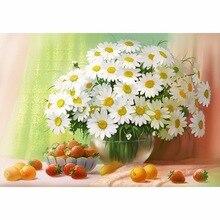 5D DIY White Chrysanthemum Mosaic Picture Pattern Cross Stitch Rhinestone Diy Diamond Paintings Embroidery