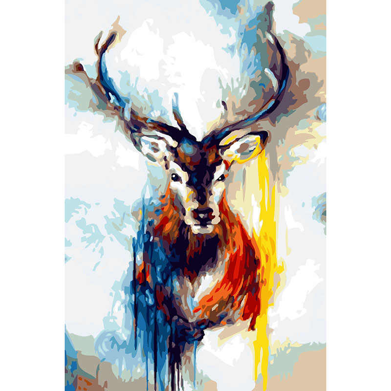 DIY oil Painting Riches deer Paint On Canvas Acrylic Coloring By Numbers painting For living room Decor frame animal  RQ