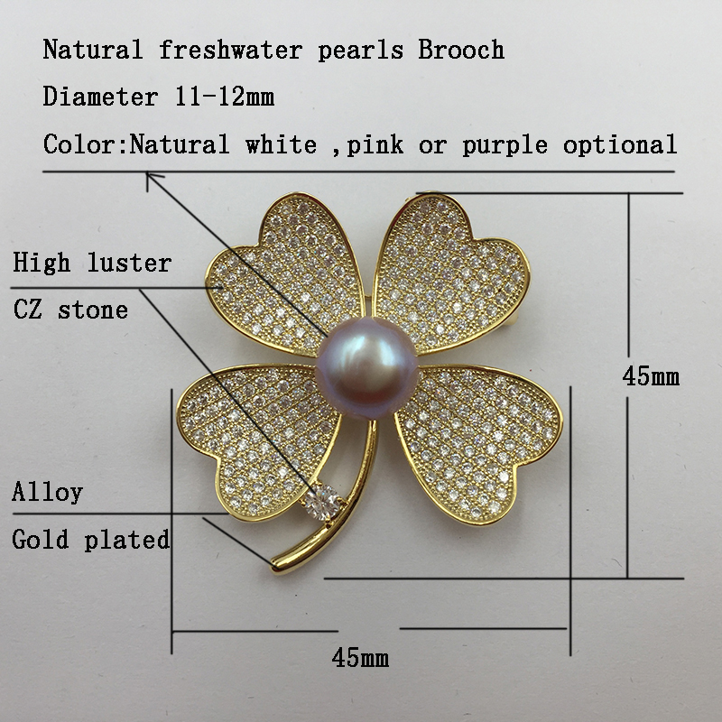 Sinya Natural Pearl Four leaves design Brooch lucky Clover Gold plated Brooches New arrival 2018 pink purple white optional (18)