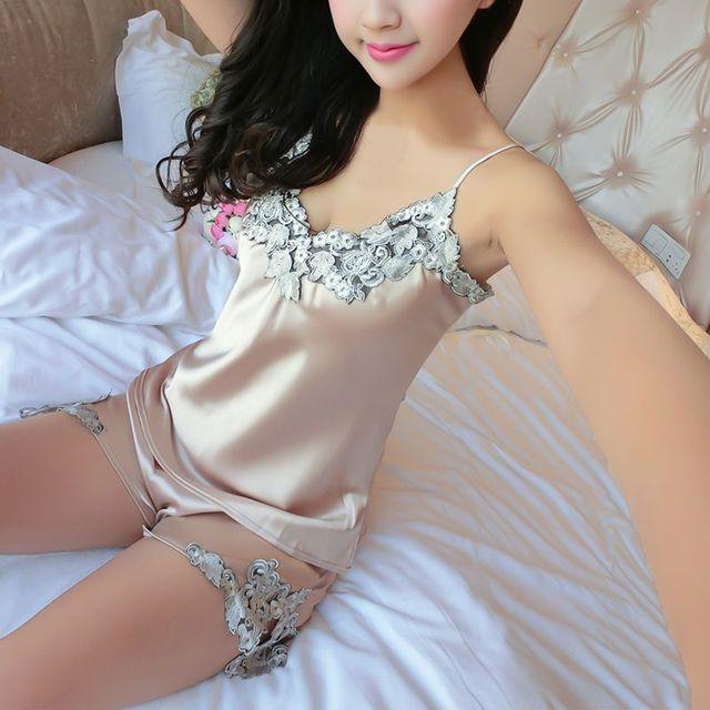 924c84eebe Ladies Sexy Silk Satin Pajama Set Lace V-neck Sleepwear Women Summer Style Home  Wear